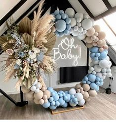 Deco Baby Shower, Baby Shower Balloons, Shower Party, Baby Shower Parties, Baby Boy Shower, Baby Shower Backdrop, Baby Ballons, Baby Shower Garland, Gold Baby Showers