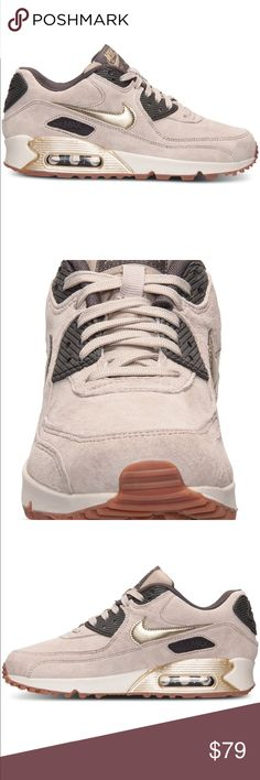 Woman's AirMax 90 premium running sneaker suede Woman's AirMax 90 premium running sneaker beige tan leather suede gold swish Nike Shoes Sneakers