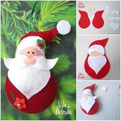 DIY Santa Claus Sewing Patterns and Ideas ❗️Santas don't have to be red, I'm trying blues and silvers along with pastels or even bright colors Felt Christmas Decorations, Christmas Ornaments To Make, Christmas Sewing, Christmas Pillow, Felt Ornaments, Homemade Christmas, Christmas Projects, Felt Crafts, Holiday Crafts