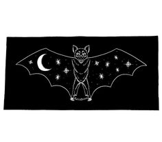 Depicts a bat with the night sky on its wings. Sew on patchThe imagery is printed in white non-toxic, eco friendly ink on cotton black fabricImagery is 4 x 9 in