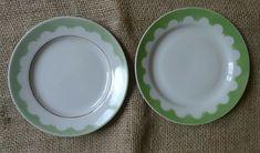 Vintage USSR Soviet Latvia Pottery RPR Riga Saucer Desert Plate 2psc white green #RigaPorcelainFactory