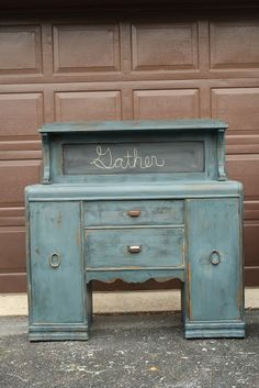 repurposed top of hutch | Gorgeous Peacock Milk Paint Vanity. | Repurposed Furniture