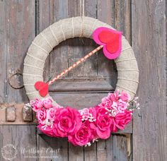 Love is in the air with these DIY Valentine's Day Wreaths. From rose wreaths to heart wreaths, there are plenty of heart-warming valentine's day decor ideas Diy Valentines Day Wreath, Valentines Day Decorations, Valentine Day Crafts, Holiday Crafts, Holiday Decor, Valentine Stuff, Homemade Valentines, Valentine Box, Valentine Ideas