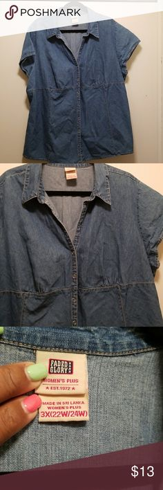 0420223b0e5 Faded Glory Denim Top Size 22 24 Guc no damage or stains Snap closure Can