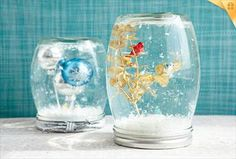 DIY Snow Globes - Save your empty jars and create memorable keepsakes with simple do-it-yourself snow globes. Delightful scenes are easy to assemble with just a few materials, and they're perfect for gifting, party favors or simply preserving memories for years to come.  Materials Empty jar with lid Clear epoxy cement* Sealed ceramic or plastic decorative items Glycerin** Glitter, colored beads, sequins or mini foam pebbles