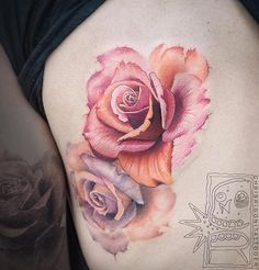 peach and pink watercolor roses by chris rigoni