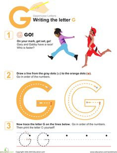 This worksheet will help your preschooler build strong fine motor skills as she traces and writes her way to mastering the letter G! Letter Worksheets For Preschool, Alphabet Tracing Worksheets, Preschool Letters, Alphabet Activities, Alphabet Crafts, Educational Activities, Learning To Write, Learning Letters, Writing Practice