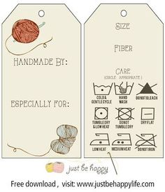 Crochet/knitting Gift Tags with care instructions {Free Printables} by Just Be Happy Crochet