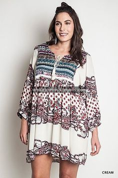 Printed Tunic Dress-Plus - Dresses - Plus Sizes