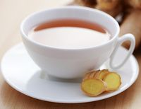 Homemade Ginger Tea Ingredients 1 Tbsp. fresh grated ginger 2 cups filtered water 1 Tbsp. raw honey or pure maple syrup ½ lemon, juiced Optional 1 cinnamon stick Camomile flowers Echinacea tincture Fresh mint leaves Pinch of cayenne pepper