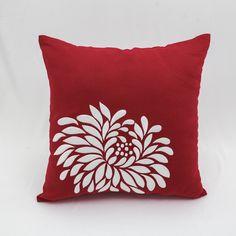 Red White Embroidery Flower Thow Pillow https://etsy.me/2HKDB4C #housewares #pillow #throwpillow #embroidery #floralpillow #flowerpillow #redwhitepillow #modernpillow #kainkain #custompillow