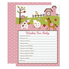 Cute Farm Animal Wishes For Baby Card - invitations custom unique diy personalize occasions