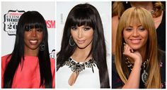 Who wears bangs in a feminine #style in your mind?   1: #Kelly #Rowland 2: #Kim #Kardashian 3: #Beyonce