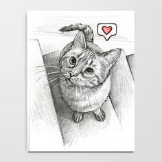 Cute Kitty Cat - Love Me Mini Art Print by olechka Framed Art Prints, Canvas Prints, Cat Drawing, Drawing Ideas, My Canvas, Illustrations, Folded Cards, Cat Love, Cute Cats