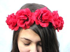 Red Rose Flower Crown made with Scarlet Red Velvet Roses in a Frida Kahlo style. Velveteen red roses are attached to a vine wire crown that ties in the back with a red satin ribbon ~ Bloom Design Studio on Etsy...so fun for some Valentine's day fun! xoxoxoxox
