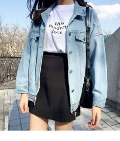 Black skirt, white tee and a jean jacket - LadyStyle