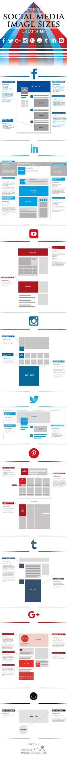 The 2017 Social Media Image Sizes Cheat Sheet #Infographic #SocialMedia