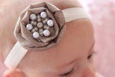 Christmas Glitter Gold Flower- White Pearl Rhinestone- Newborn Photo Prop, Girl, Baby, Toddler -Holiday Headband - Ivory Headband- Fancy