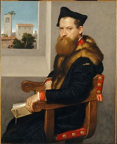 Bartolomeo Bonghi (died 1584) painted shortly after 1533 Giovanni Battista Moroni / The distinguished legal scholar Bartolommeo Bonghi holds a book on Roman civil law dedicated to him by its author in 1553. The artist alludes to the sitter's city, Bergamo, by portraying a recognizable tower through the window. Moroni was the foremost North Italian portraitist of his time and this picture is one of his finest.