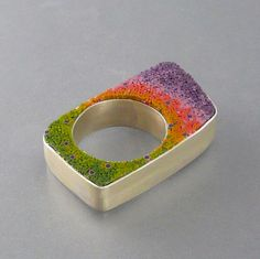 "Fabricated sterling silver, polymer micromosaic ring by ""malodora"" (Ddee Wilder)"