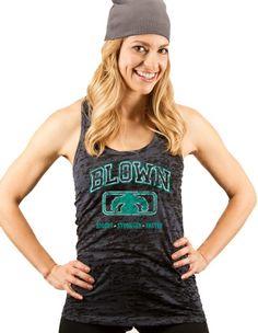 Women's College Burnout Racerback Tank - Black $25