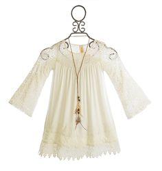 Tru Luv Tween Ivory Dress with Bell Sleeves PREORDER $78.00