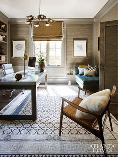 Home Decor Eclectic Classic Style Home: New Year New Project: Home Office Inspiration.Home Decor Eclectic Classic Style Home: New Year New Project: Home Office Inspiration Home Office Layouts, Home Office Space, Home Office Desks, Office Ideas, Office Designs, Office Table, Cozy Home Office, Office Rug, Office Inspo