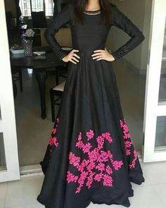 Black & pink Gown... TOP : BANGLORY BOTTOM : SANTTON DUPPATA : NAJMIN  Price : INR 1799 + Shipping.. Book now....