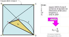 Geometry Problem 112: Area of square and triangle, Semicircle, Diameter, Diagonal. Teaching, High School