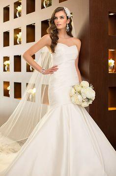 Strapless satin wedding dress by Essense Of Australia, Spring 2014
