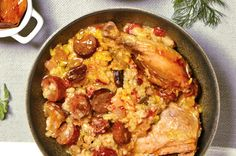 This sausage-packed flavorful Shabbat cholent is inspired by Paella. Arborio rice is a must in this dish, as it will not fall apart in your slow cooker.