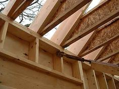 Manufactured wood I-joists are advertised as being straighter than dimensional lumber under normal conditions, but this isn't true in a structural fire. Gregory Havel examines this element of building construction. Outdoor Buildings, Post And Beam, Industrial Table, Wooden House, Beams, Side Extension, Shed, Stairs, House Design
