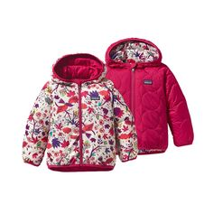 Patagonia jacket- thin, squishes down super small, safer for carseat use