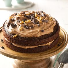 Chocolate Carrot Cake Recipe -Finely shredding the carrots gives this cake an extra-nice texture. The walnuts sprinkled on top add crunch, but you can leave them off if you prefer. Icing Recipe, Frosting Recipes, Cake Recipes, Dessert Recipes, Desserts, Torte Recipe, Beet Recipes, Food Cakes, Cupcake Cakes