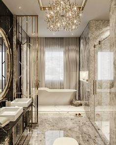 Modern Luxury Bathroom, Bathroom Design Luxury, Luxury Interior Design, Luxury Bathrooms, Dream Bathrooms, Beautiful Bathrooms, Luxury Homes Dream Houses, Dream Home Design, Luxurious Bedrooms