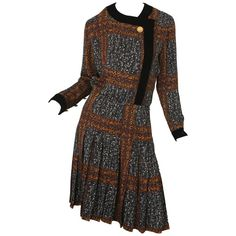 Givenchy Long Sleeve Printed Dress W/ Black Velvet & Gold Buttons 1