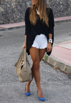 Crochet shorts, long black cardigan and flats - perfect casual