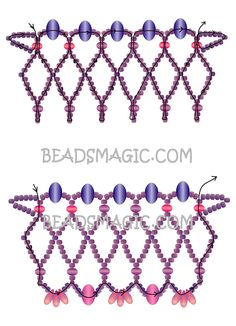 Free pattern for necklace Violet Morning - --- U need Seed Beads Rondelle Crystal beads Gem Stone Chips or Drop Beads. Beaded Jewelry Patterns, Bracelet Patterns, Beading Patterns, Jewelry Making Classes, Jewelry Making Tutorials, Free Beading Tutorials, Beadwork Designs, Gothic Jewelry, Beads And Wire