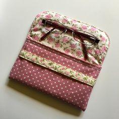 Rose & Hubble Pink Polka Dot Linen Pouch / Glasses Case /