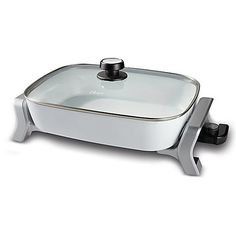 Oster 16-Inch x 12-Inch Hand Wash Electric Skillet in White/Silver Hand Wash >>> Click image to review more details.
