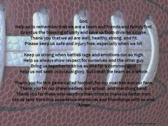Pregame football team prayer, football player prayer, athlete's pregame prayer…