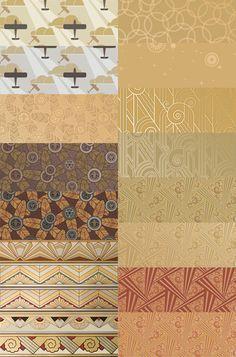 Art Deco wallpaper sample kit in Gold