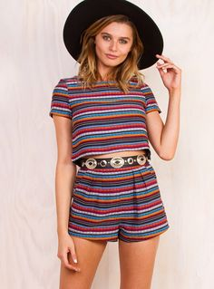 """Hola Top - Hola Top by Polly the label  Join the fiesta in this cute crop top! Vibrant Mexican inspired pattern Buttons at back Invisible zip at side 35% Cotton 65% Polyester  Jana is wearing a size 8 and is 179cm tall. (5'10.5"""")"""