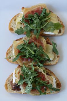 Week of Menus: Brie, Pancetta, Arugula Crostini: What's a vacation? I would add a fig jam to these or a slice of pear and a drizzle of honey.