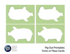 """Free Pig Shaped Tent Cards designed by Jessica Griffin for Glue Dots' """"Pig Out"""" summer BBQ! #GlueDots #FreePrintables"""