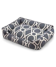 Solar Pet Lounge - Dramatic transitional lattice on a large scale patterns the Solar Pet Lounge, a structured but soft pet bed that makes a statement with luxury equal to that of your own upholstery. The muted slate blue that suffuses its upholstery-weight, cotton-blend fabric gives fashion color to a textile which is washable and breathable, yet unmistakably refined.