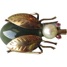 14k Gold, Jade, Cultured Pearl & Ruby Bug Pin c1960