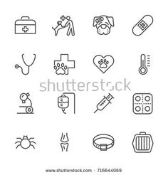 vet clinic Simple thin line veterinary medicine icons set. Mini Tattoos, Body Art Tattoos, Vet Tech Tattoo, Business Card Template Word, Pet Clinic, Clinic Design, Boutique Logo, Medical Design, Event Flyer Templates