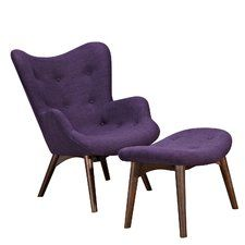 Features: -Aiden collection. Chair Design: -Lounge Chair. Upholstered: -Yes. Frame Material: -Wood. Number of Items Included: -2. Upholstery Material: -Polyester/Polyester blend. Arm Material: