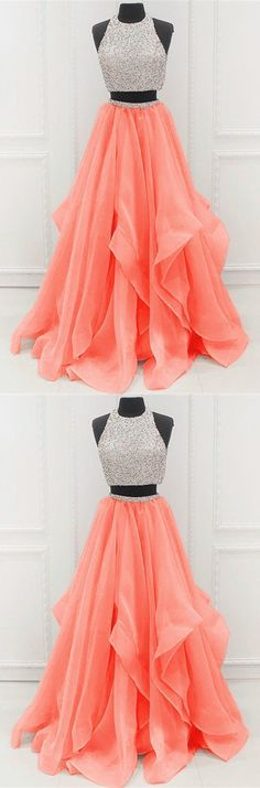 Prom Dress Ball Gown, two piece a line beaded tulle 2019 Unique Prom Dresses SuZhou Prom - Bal de Promo Homecoming Dresses Long, Prom Dresses Two Piece, Pretty Prom Dresses, Unique Prom Dresses, Hoco Dresses, Ball Gowns Prom, Dresses For Teens, Beautiful Dresses, Beaded Prom Dress